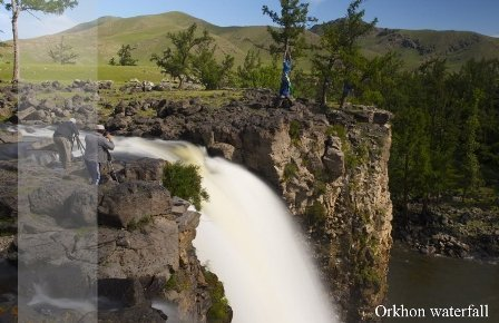 Orkhon Waterfall is tourist attraction in Central Mongolia