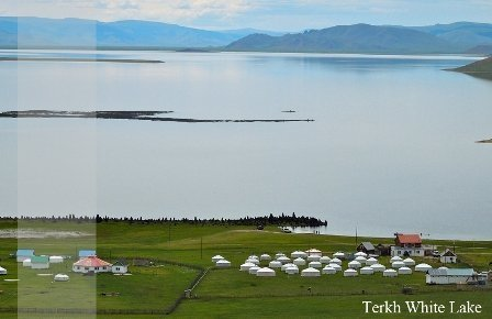 Terkh White Lake is tourist attraction in Central Mongolia