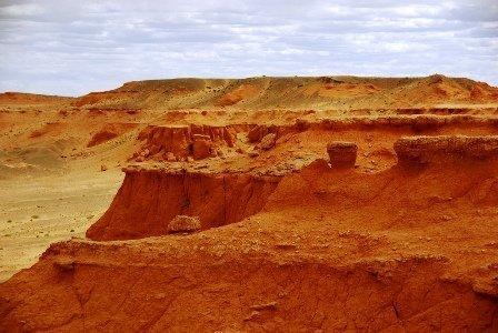 Bayanzag flaming cliffs is tourist attraction in Gobi Desert
