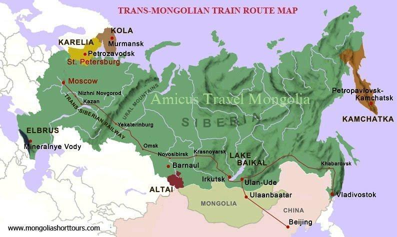 Trans-Mongolian Train Route Map