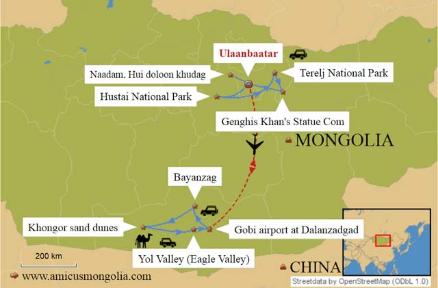 Mongolia Naadam Festival Tour 10 days travel map