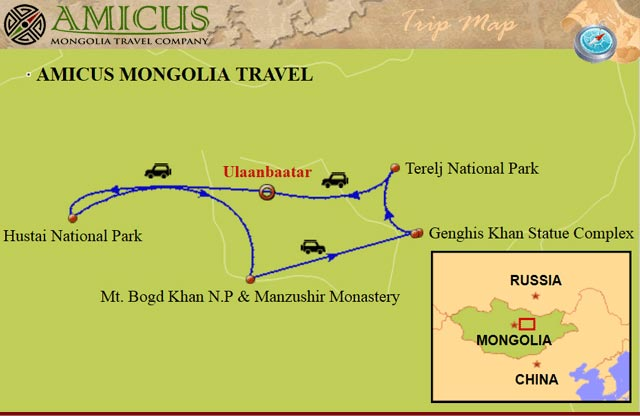 3 days tour from Ulaanbaatar travel map