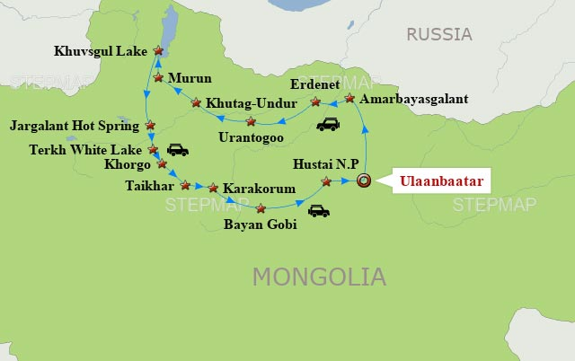 Mongolia Travel Map 12 days tour in Mongolia