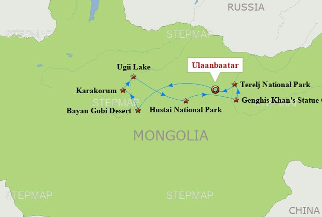 Mongolia Travel Map and 7 days tour in Central Mongolia