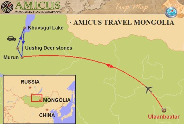 Khuvsgul Lake 3 days tour map