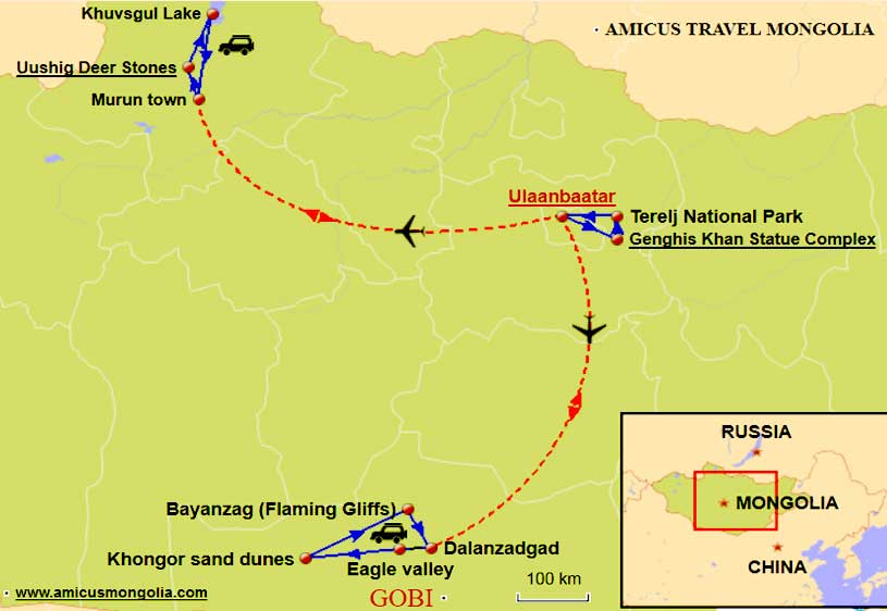 Mongolia Travel Map 10 days tour in Mongolia