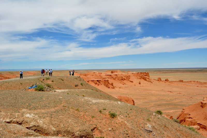 Flaming cliffs Bayanzag in Gobi desert