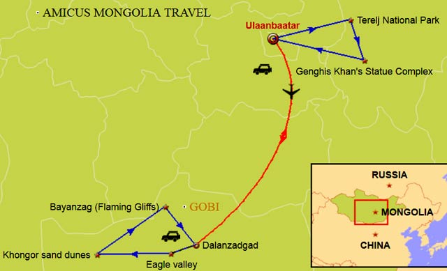 Mongolia Travel Map and 7 days tour in Gobi
