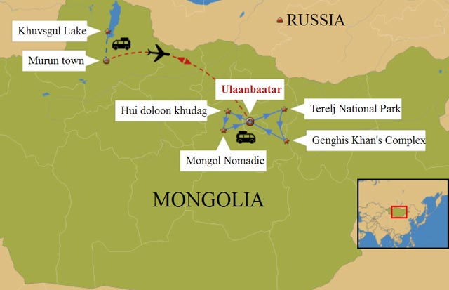 Mongolia Naadam Festival Tour 8 days travel map