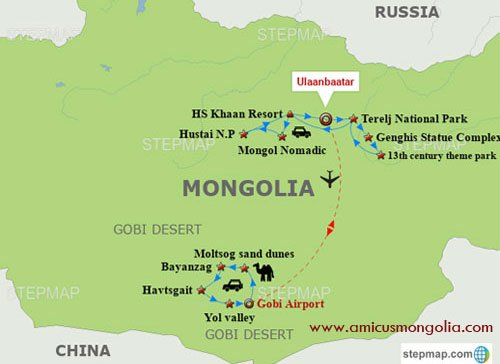 Mongolia Luxury Travel map and 11 days luxury tour in Mongolia
