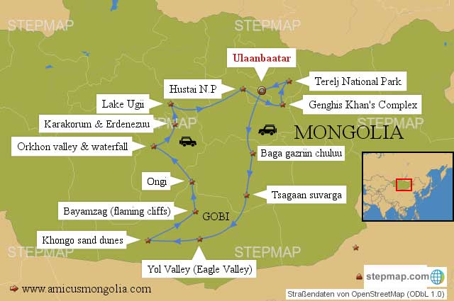 Mongolia Travel Map 14 days tour in Mongolia