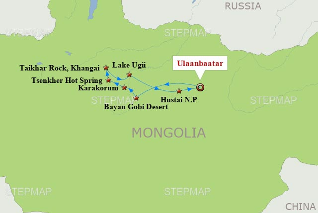Mongolia Travel Map and 8 days tour in Mongolia