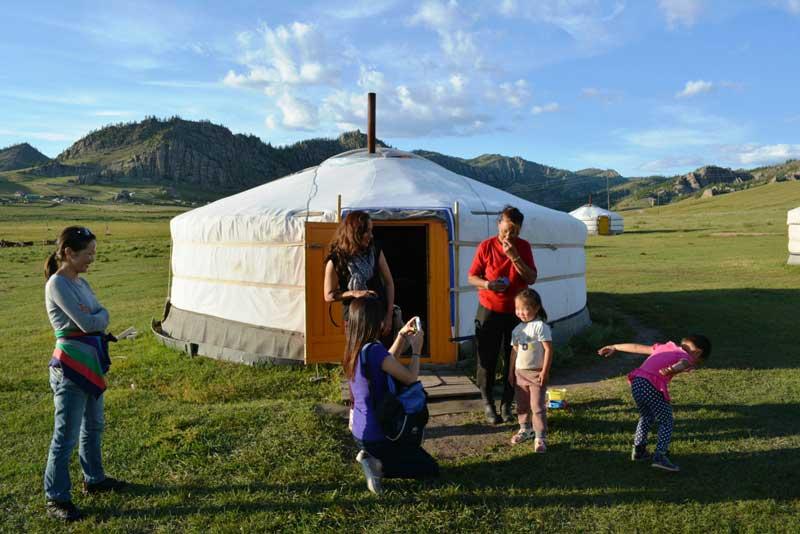 nomadic family visit in Mongolia