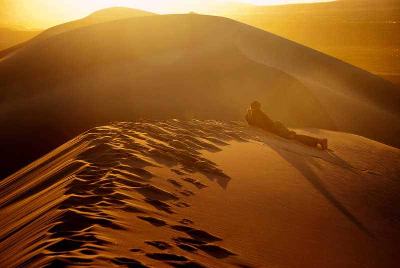 Sun set in the Gobi Desert